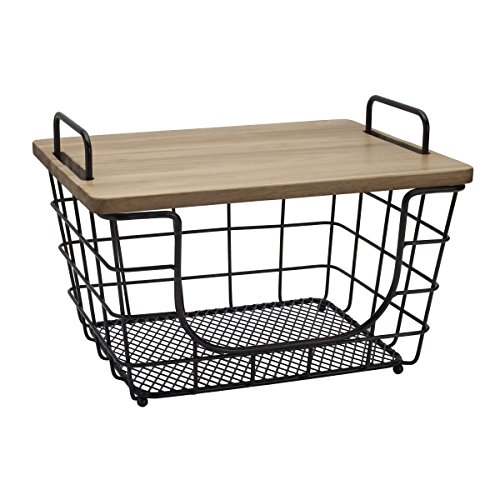 (Gourmet Basics by Mikasa 5219530 Madam Metal Stacking/Nesting Rectangular Basket with Acacia Lid, Antique Black )