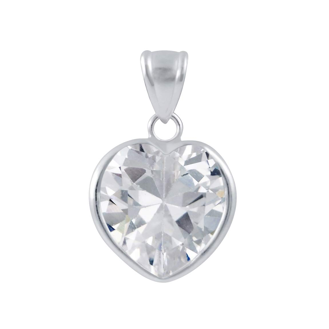 White 12mm Heart Cubic Zirconia 925 Sterling Silver Pendant