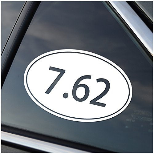 7.62 Caliber Oval Vinyl Car Window Decal Sticker White