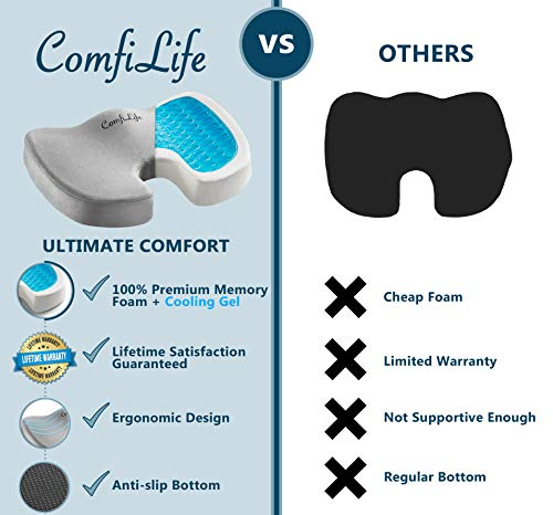Image of ComfiLife Gel Enhanced Seat Cushion - Non-Slip Orthopedic Gel & Memory
