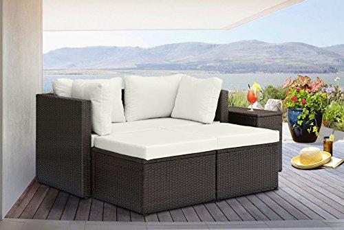 Divano roma 5 piece outdoor patio rattan wicker configurable furniture set with cushions brown - Set divano rattan ...