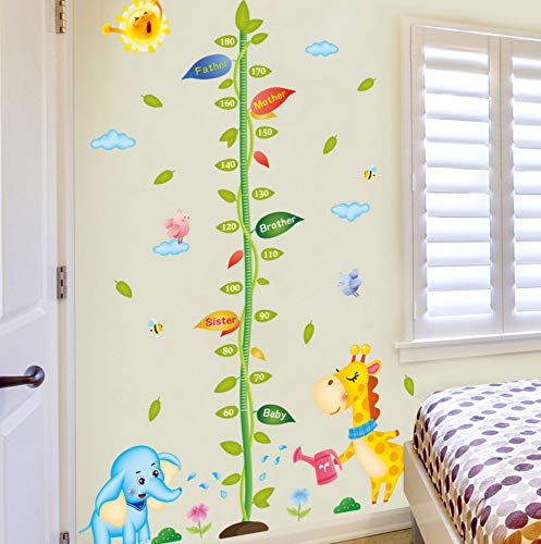 Aisufen Cartoon Sapling Height Paste Wall Stickers Bedroom Children Room Background Decoration Wall Decal 6090Cm ()