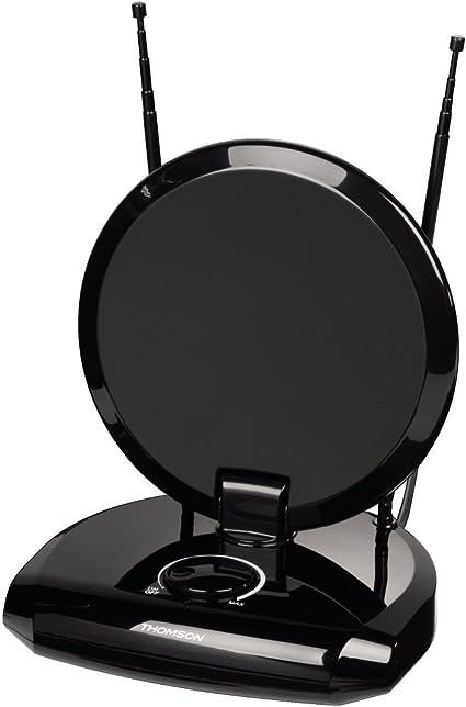 Thomson ANT1731 - Antena de Interior DVB-T/DVB-T2 (40 dB, 75 Ohm, 230 V/50 Hz) Negro