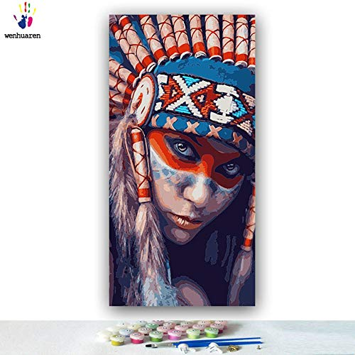 - Paint by Number Kits Canvas DIY Oil Painting for Kids, Students, Adults Beginner with Brushes and Acrylic Pigment -Woman Wearing Ethnic Style Headdress (5627, 12x24 no Frame)