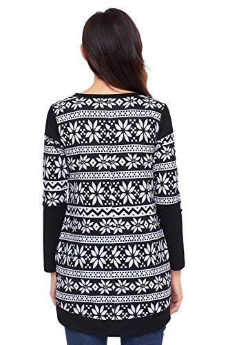 Neuf Noir et blanc Flocon de neige Imprimé à manches longues Pull Chemisier de soirée pour femme Tenue décontractée d'été Taille UK 14EU 42