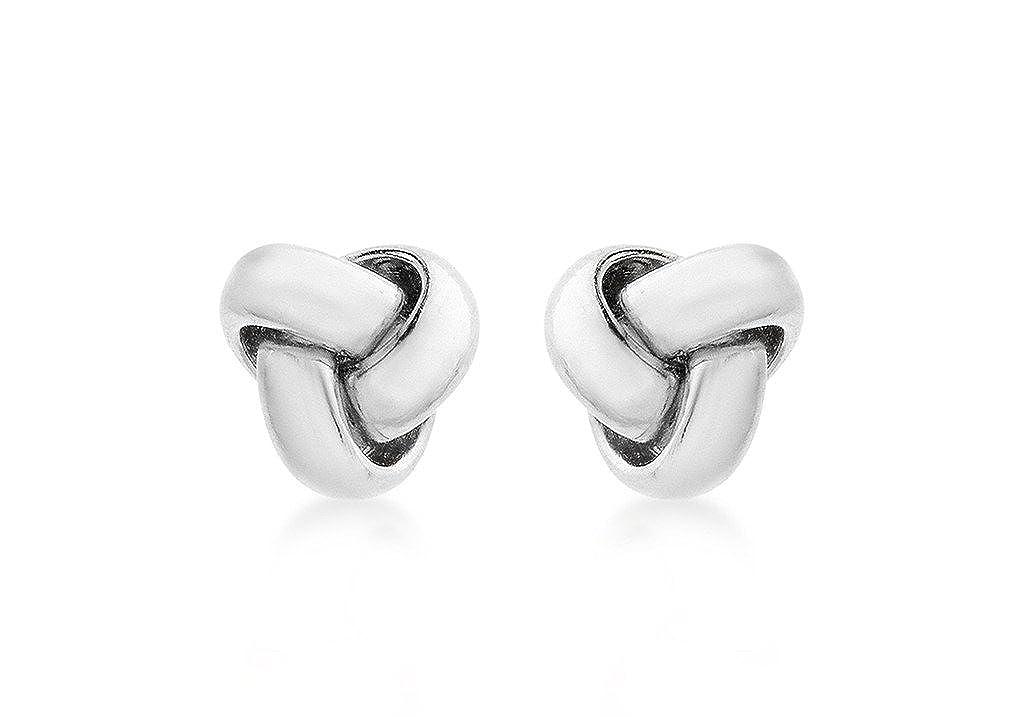 ffe33374e Genuine 9ct White Gold 8mm Knot Stud Earrings: Amazon.co.uk: Jewellery