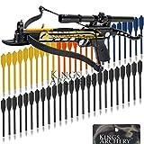 Crossbow Self-Cocking 80 LBS by KingsArchery® with Hunting Scope, 3 Aluminium Arrow Bolts, and Bonus 60-pack of Colored PVC Arrow Bolts + KingsArchery® Warranty