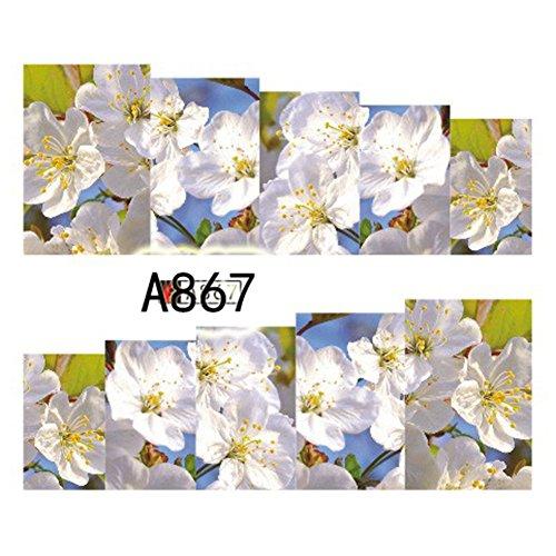 A867 Cover - CHoppyWAVE Nail Sticker, 1 Sheet Multicolor Flower Nail Art Water Transfer Decal Sticker Tips DIY Decor - A867