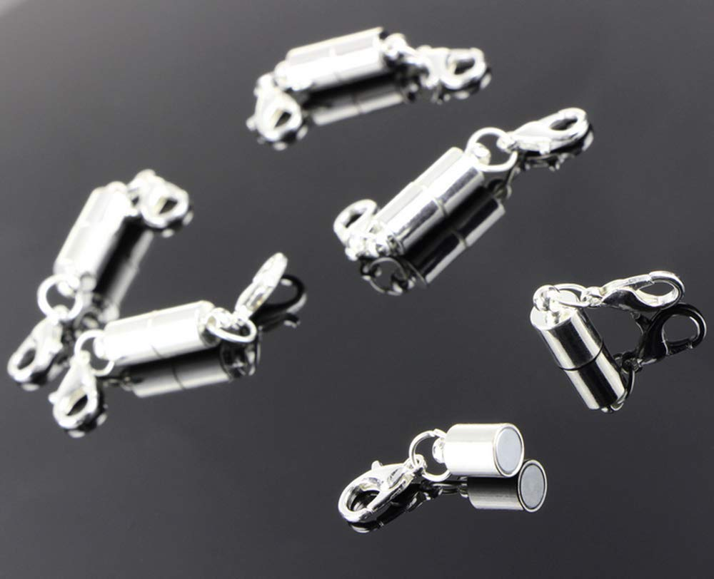 Hewnda10 Pieces of Silver Magnetic Lobster Clasp Jewelry Necklace Bracelet