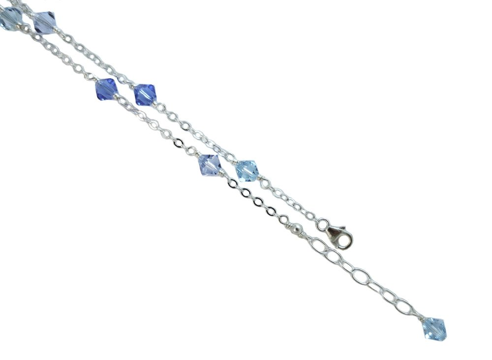 6mm Blue Color with .925 Sterling Silver Anklet, Bracelet. 7,8,9,10,11,12,13'' (13 Inches)