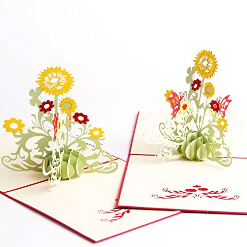 Paper Spiritz Sunflower Pop up Cards Birthday - Laser Cut Pop up 3D Thank You Anniversary Cards - 3D Graduation Wedding Congratulations Cards all Occasion (Pack of 2) Anniversary Thank You Cards