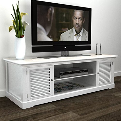 (White Wooden TV Stand)