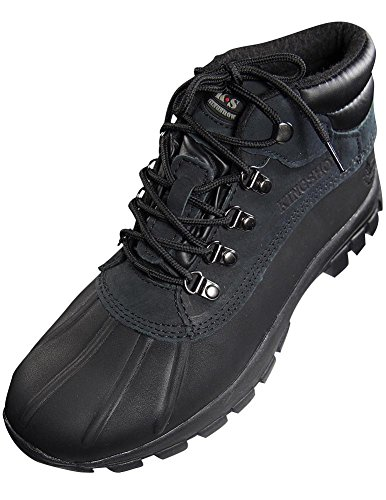 KINGSHOW Men Warm Waterproof Winter Snow Leather Boots Size:8.5 Color:Black (Man Boots For Sale)