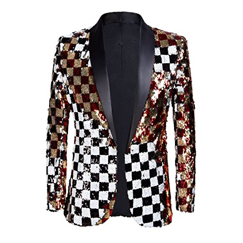 (PYJTRL Mens Fashion Double-Side Color Red Gold Black White Plaid Sequins Blazer Suit Jacket (Color, US)