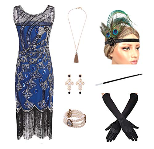 1920s Women's Gatsby Costume Flapper Dresses V Neck Fringed Dress with 20s Accessories Set of 7