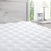 ExceptionalSheets Pillowtop Mattress Pad with Fitted Skirt - Extra Plush Topper Found in Luxury Hotels - Made in the USA, Olympic Queen