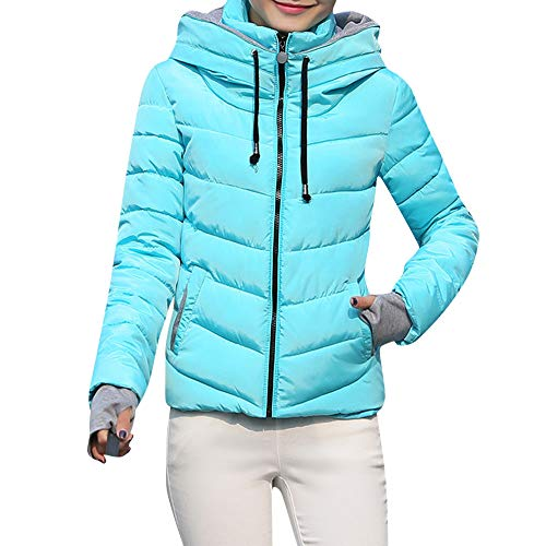 Clearance Sale! ANJUNIE Down Coat, Women Thick Outerwear Hooded Coat Short Slim Cotton-Padded Jackets Coats(Blue,L)