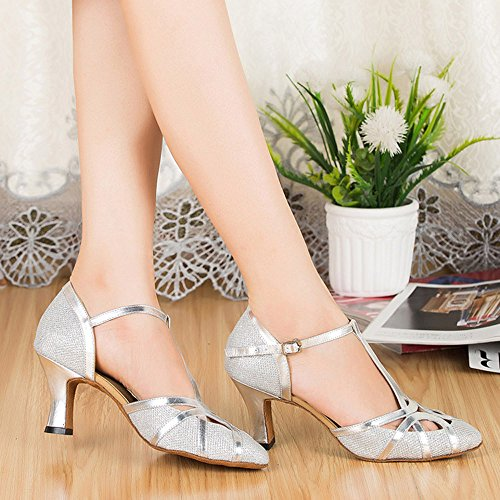 Toe Heel Honeystore Mid T Closed Women's Shoes Bling Strap Latin Shoes Dance Silver Gliter Party Uw1wqz