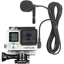 SOONSUN Skeleton Housing Protective Case with Quick Release Buckle + 6.5ft Lavalier Lapel Clip-on Microphone Mic for GoPro Hero4 Hero 4 3+ Hero3 Camera