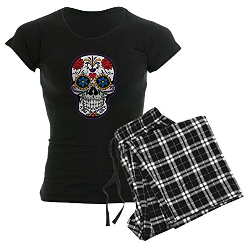 Truly Teague Women's Dark Pajamas Floral Sugar Skull Day of the Dead - Black Checker, -