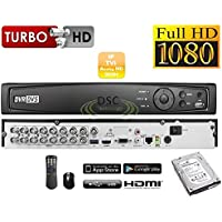16-Channel Professional Security System DVR, HD-TVI/HD-CVI/HD-AHD 1080P H.264 True-HD, Playback, Motion detection, Internet & Smart phone Accessible, Smart Recording, 2TB HDD Installed