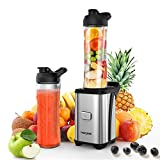 Homgeek Personal Blender Smoothie Maker with 2 BPA Free Travel Sport Cups,350 W Motor and 4 Super-Sharp Blade