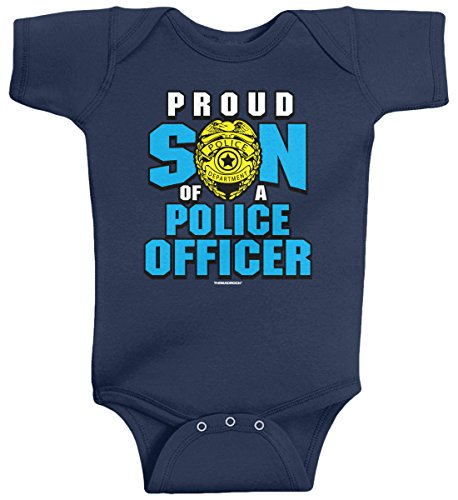 Threadrock Baby Boys' Proud Son of a Police Officer Infant Bodysuit 6M Navy -