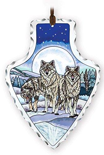 Amia 41738 Hand-Painted Glass Arrowhead Suncatcher, Wolf Pack Design, 5-1/2 x 7-Inch