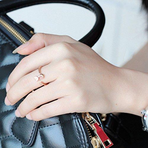 Infinite U Femme Bague Réglable en 925 Argent Chat Mignon Zircone Cubique pour le Mariage/Anniversaire/Fiançailles/Promesse