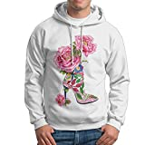 TQUSIJ Men's Long-sleeved Sweater High-heeled Shoes Subshrubby Peony Flower Animal Fashion Personality Long-sleeved Sweater