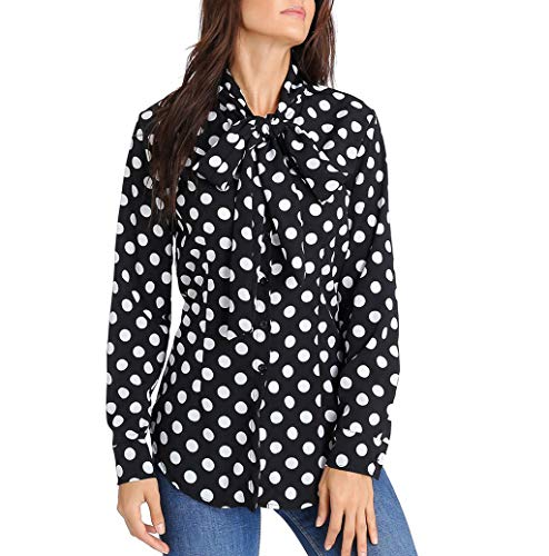 (Photno Women's Blouses Ladies Bell Sleeve Dot Print Polka Shirts Tunic Tops S-2XL)