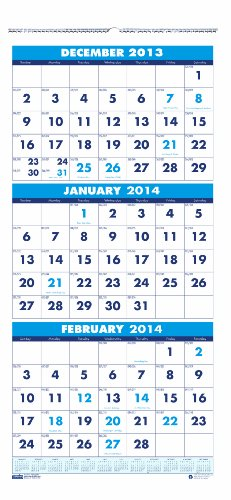 (House of Doolittle Three-Month Calendar 14 Months December 2013 to January 2015, 12.25 x 26 Inches, Large Numbered Days, Recycled (HOD3640))