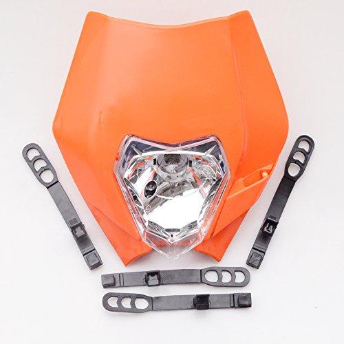 (GOOFIT Universal 12V 35W Motorcycle Supermoto Halogen Headlight Indicator Fairing Lampshade for Dirt Bike Motor Orange)