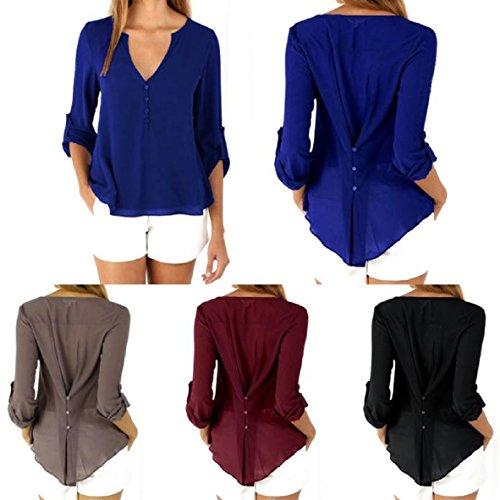 TOPUNDER Womens Loose Long Sleeve Chiffon Casual Blouse Shirt Tops Fashion Blouse