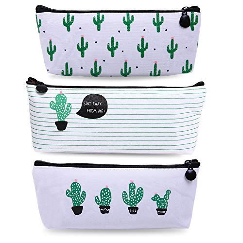 Bonaweite Cactus Pencil Bag Linen Pastoral Bandage Case Cute Cacti Pen Zipper Coin Organizer Makeup Cosmetic Pouch Holder for Desk Set of 3