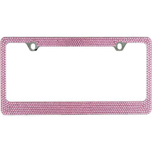 Popular Bling 7 Row Pink Color Crystal Metal Chrome License Plate Frame With Screw Caps - 1 Frame (Pink Frame License Plate)