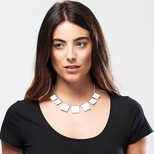 Front Row Collier en métal avec pendentifs carrés couleur argent pour Femme