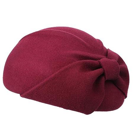 692acc4fe32075 Aihifly Elegant Bowknot Wool Felt Cloche Fedora Hat For Ladies Church Beret Bowler  Hats Derby Party