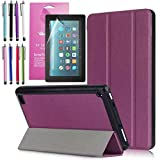 Amazon Fire 7'' 2017 Case, EpicGadget(TM) 7th Generation Fire 7 Auto Sleep/Wake Tri-fold Stand Ultra Lightweight Slim Cover PU Leather Case For Fire 7 (2017) + 1 Screen Protector and 1 Stylus (Purple)