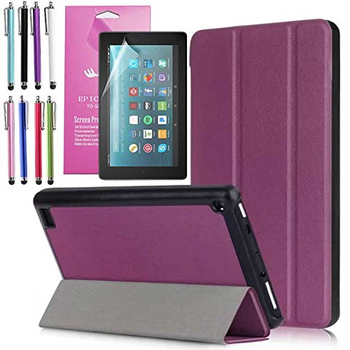 Amazon Fire 7'' 2017 Case, EpicGadget(TM) 7th Generation Fire 7 Auto Sleep/Wake Tri-fold Stand Ultra Lightweight Slim Cover PU Leather Case For Fire 7 (2017) + 1 Screen Protector and 1 Stylus (Purple) by EpicGadget(TM)