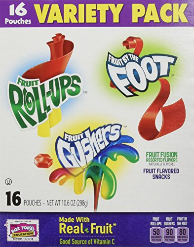 Betty Crocker Variety Pack, Gushers, Fruit Roll-Ups, Fruit By The Foot  (Flavors May Vary), 16-Count Pouches (Pack of 3)