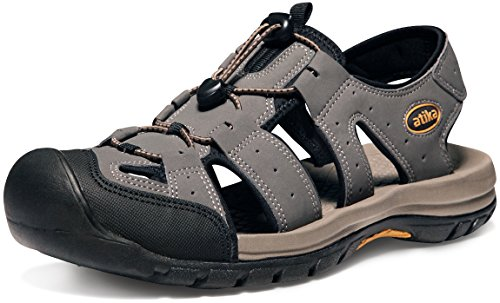 (ATIKA Men's Sports Sandals Trail Outdoor Water Shoes 3Layer Toecap, Cairo(m108) - Grey, 10)