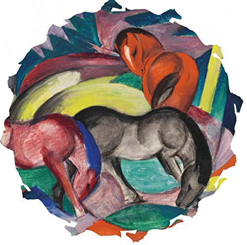 Wooden Jigsaw Puzzle - Three Horses, 1912 by Franz Marc - 327 Unique Wooden Pieces - Made in The USA by Nautilus Puzzles - Challenge Any Puzzle Lover