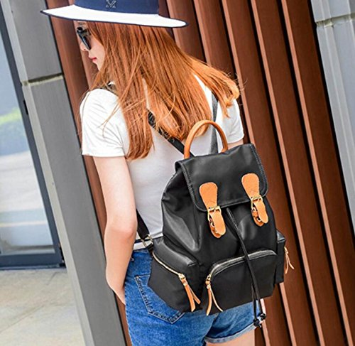 RAN Military Nylonrucksack Lederner Schulterbeutel Damen Mode-Taschen kdgoW