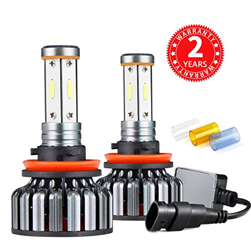 - Ultra Bright LED Headlight Bulbs CSP Chips 100W 12000LM Headlight Conversion Kit- 6000K Cool White H11 Fog Lights Bulb- 4 Side H8 H9 LED High Low Dual Beam Light for Car Driving Lamps Replacement