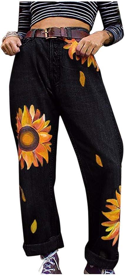 Sunnywill Damska Beiläufige dünne Jeans mittlere Taillen Sonnenblumen dünne Hosen Längen Jeans: Artykuły dla zwierząt