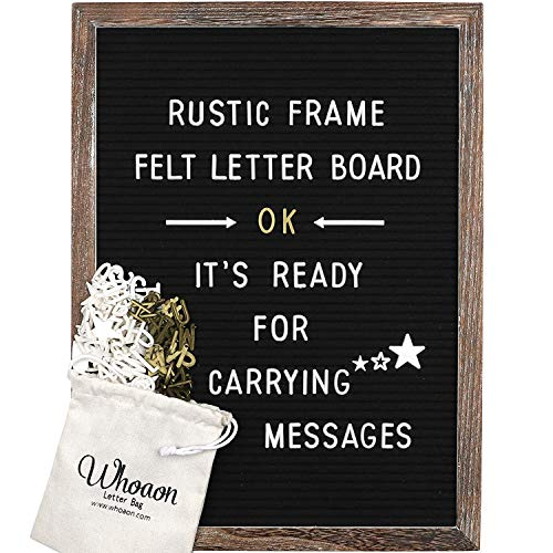 Rustic Wood Frame Black Felt Letter Board 12x16 inches. 440 White & Gold Letters, Months & Days Cursive Words, Additional Symbols & Emojis, 2 Letter Bags, Scissors, Vintage Stand. by whoaon