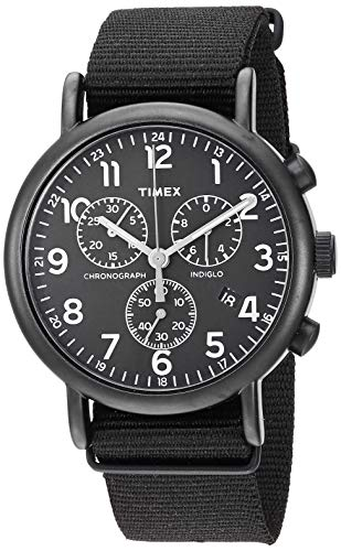 Timex Unisex TWF3C8420 Weekender Chrono Black Double-Layered Nylon Slip-Thru Strap Watch