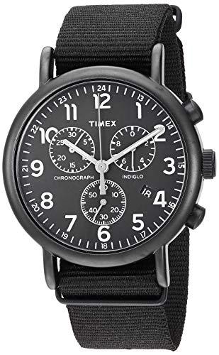 - Timex Unisex TWF3C8420 Weekender Chrono Black Double-Layered Nylon Slip-Thru Strap Watch