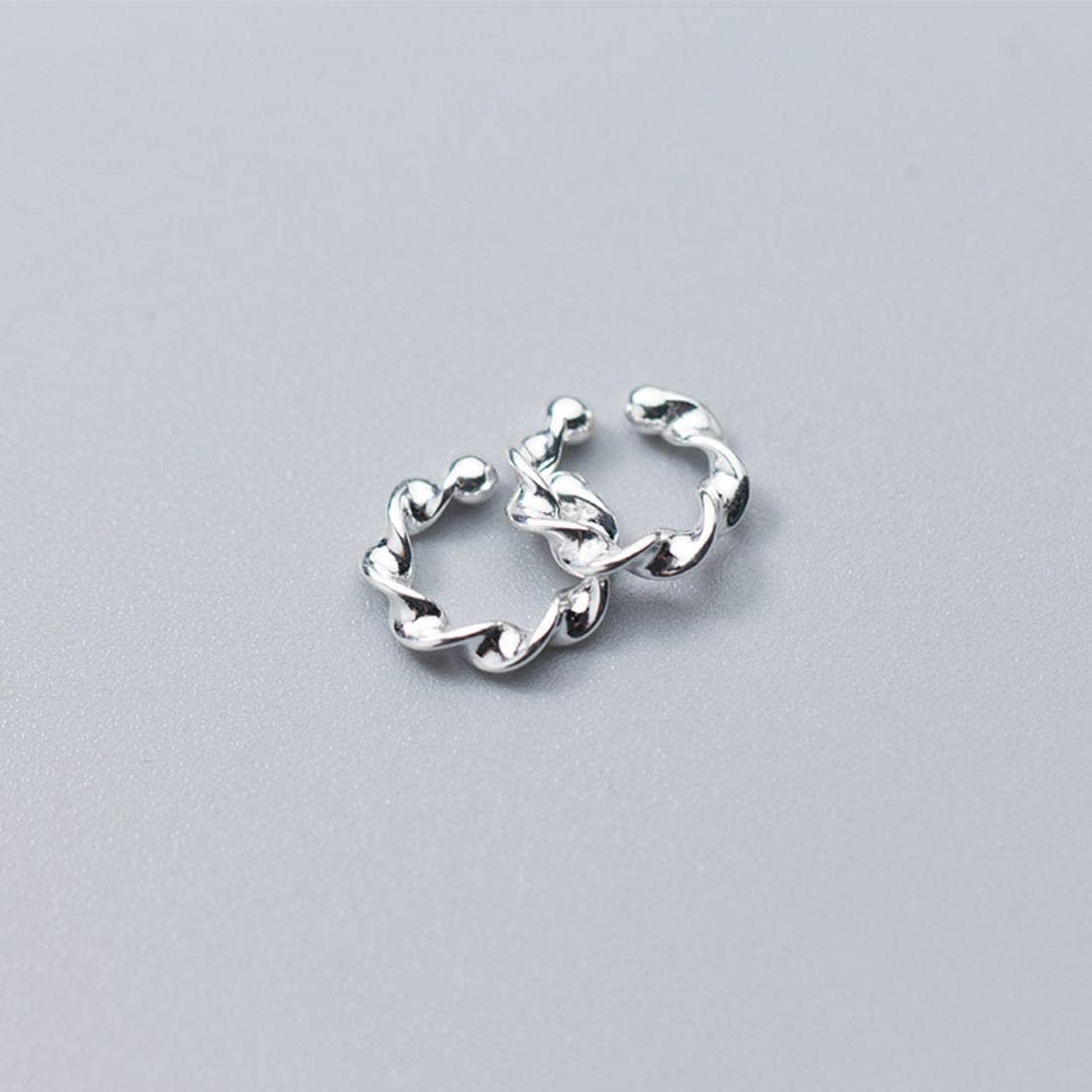 Color : Sliver BAOYIT 925 Silver Mens and Womens Simple Twist Earrings Earrings
